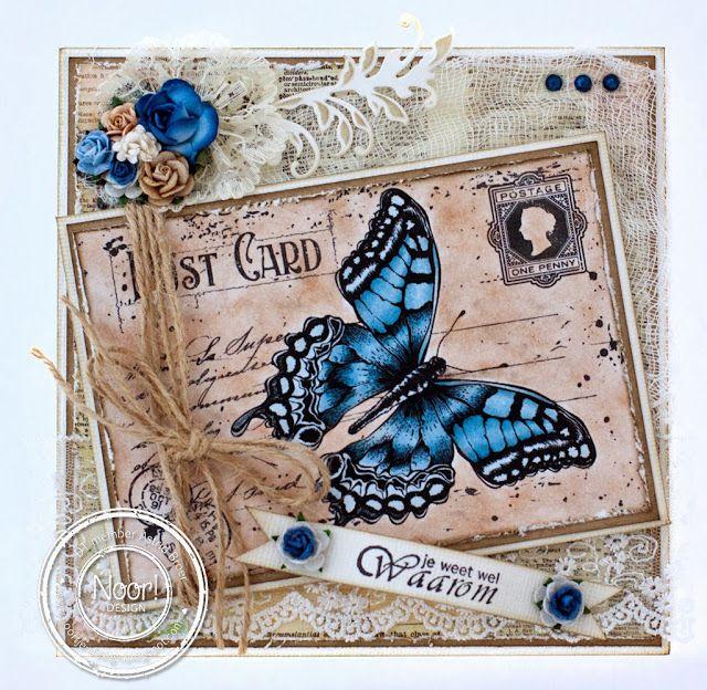 6410/0072 Noor! Design Stempel old letter butterfly door Astrid Broer