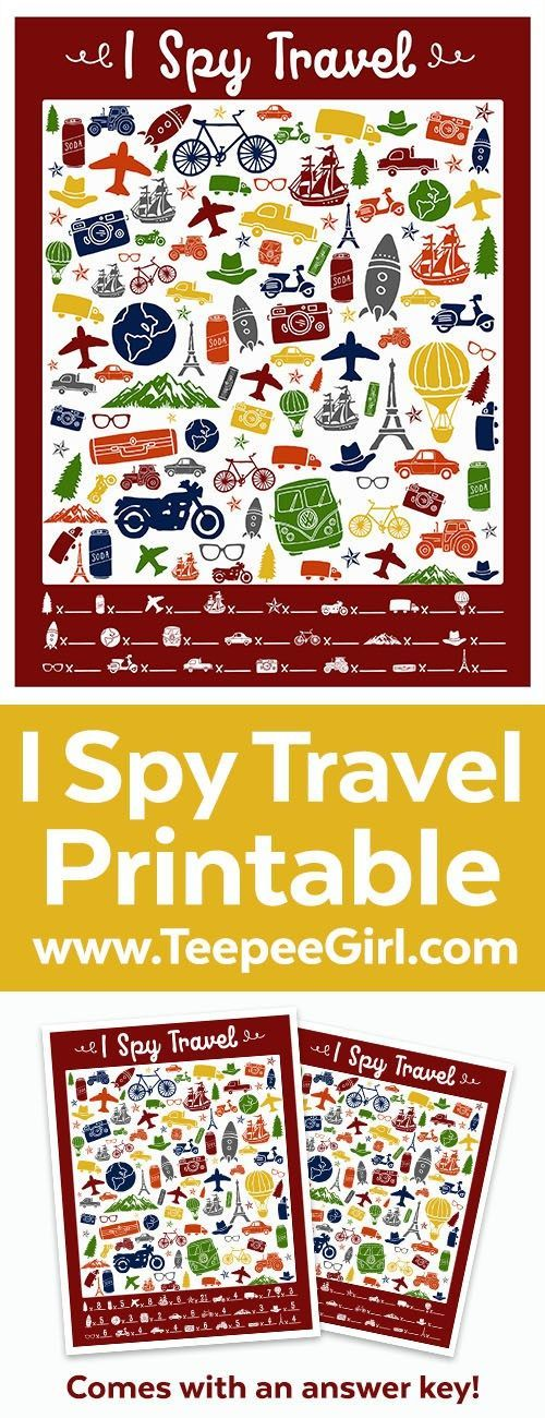 This free I Spy Travel printable game is perfect for keeping little people busy in the car, on road trips, in airports, or on the plane! But they are also great for quiet afternoons at home. http://www.TeepeeGirl.com