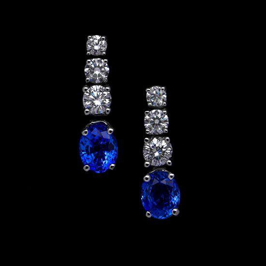 Pendientes de Novia de zafiros y diamantes