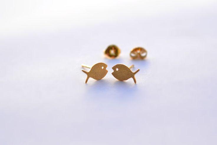Fish Gold Earrings Handmade by ViazisJewelry on Etsy