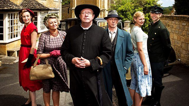 "TV SERIES - Father Brown ""2013- "" (Genre: Detective) Starring: Mark Williams as Father Brown, Sorcha Cusack as Mrs. McCarthy, Nancy Carroll as Lady Felicia, Alex Price as Sid Carter, Hugo Speer as Inspector Valentine Kasia Koleczek as Susie Jasinski. Location: England. Plot: A priest solves crimes in his English village."
