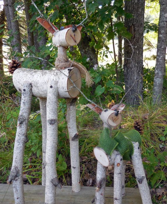 renne blanc journal deer Garden vacances décor par HeavenlyHolidays