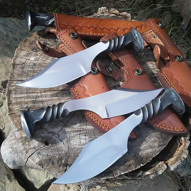 """""""Andy Alm Custom Knives."""". Only high carbon spikes will harden enough to produce a quality blade. 