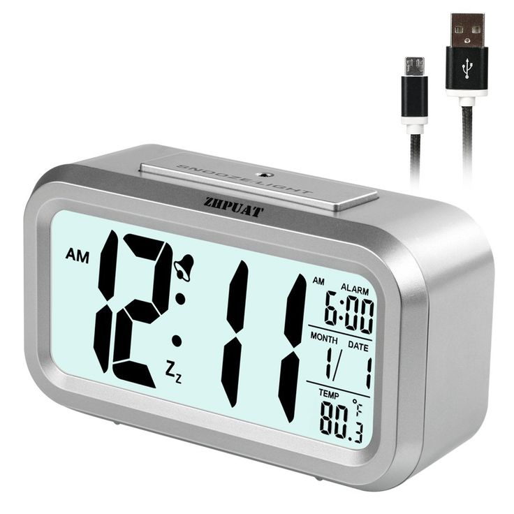 [2017 Version] ZHPUAT Smart Light Alarm Clock with Dimmer, Both Cord and Batteries Supply with Easy Operation (Sliver)