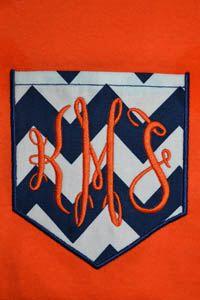 Auburn Tigers Chevron Print Monogram Pocket Tee- 3 different options! on Etsy, $21.00