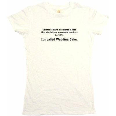 Scientists Say Wedding Cake Decreases Womens Sex Drive Joke Womens Babydoll Petite Fit Tee Shirt in 6 Colors Small thru XL