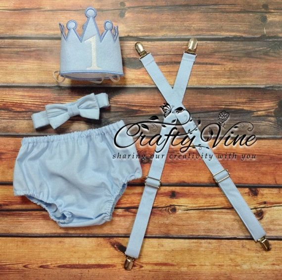 Boys cake smash outfit white and light blue by CraftyVine on Etsy