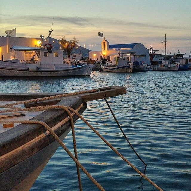 A magical evening at Naoussa village , in Paros island (Πάρος)❤️. Impressive colorful bay with very peaceful atmosphere ... One of the prettiest villages in the Cyclades !