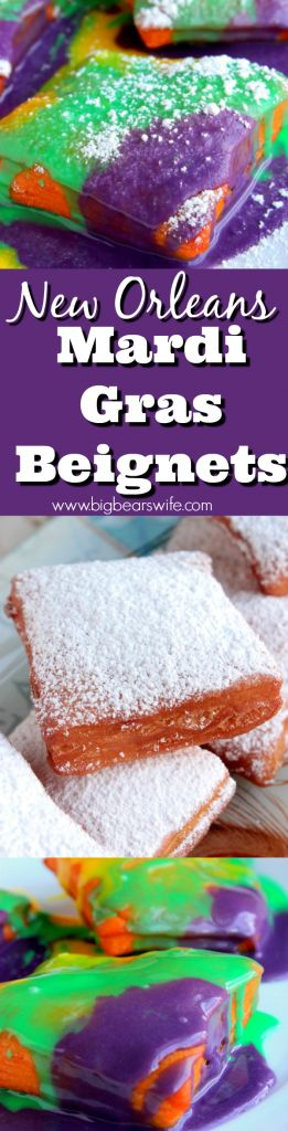 New Orleans Mardi Gras Beignets - Love the flavors of New Orleans but missing out on Mardi Gras this year? Have no fear! #SundaySupper is packed full of Mardi Gras themed recipes this week including these New Orleans Mardi Gras Beignets!