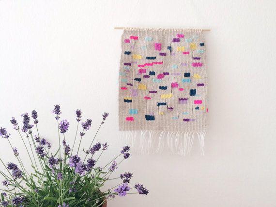 Arte della parete colorata, tessitura di attaccatura di parete, arte della parete sostenibile, regalo per