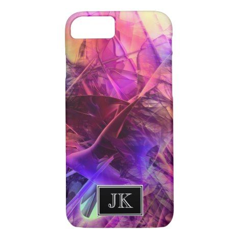 Purple and Pinks Modern Abstract Fractal Design iPhone 8/7 Case #fractal #pattern #iphone #protective #cases