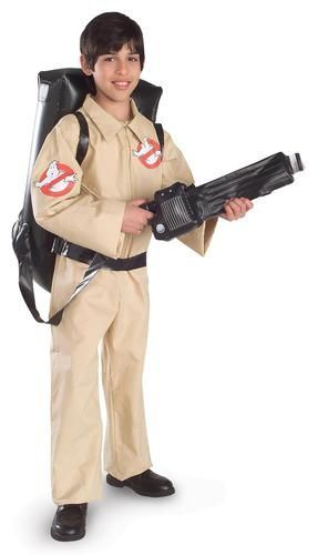 "Save the day in this Ghostbuster Child Costume.  Costume comes with a jumpsuit with a front zipper, and an inflatable ""proton pack"" backpack.  Shoes are NO"