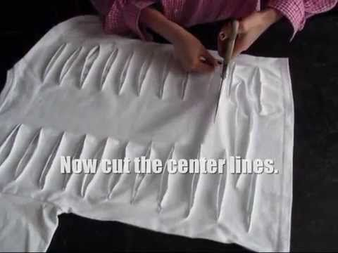 How To Make a Sexy Shirt? http://www.heavymental.eu Draw horizontal lines on the back of the t-shirt using a ruler - do this all the way down to the bottom. ...