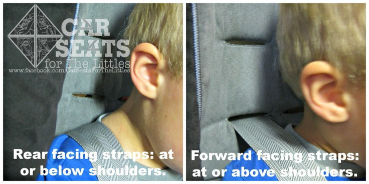 On a rear facing car seat, harness straps should be positioned at or below the shoulders.On a forward facing car seat, straps should be positioned at or above the shoulders.