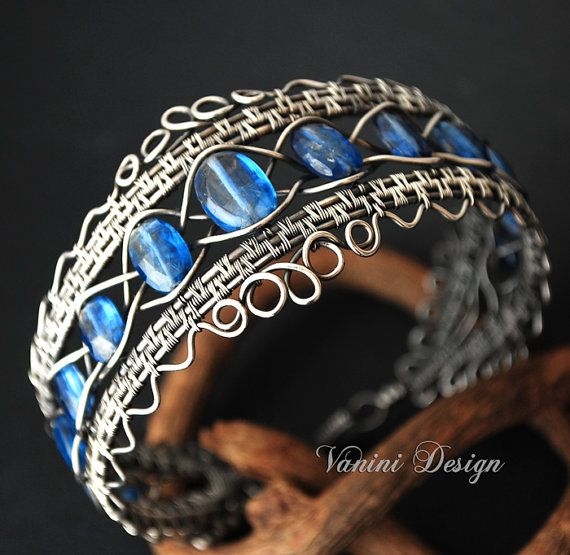 The Crown Fine silver and kyanite bracelet by vanini on Etsy
