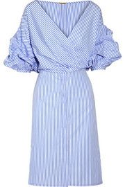 Tuxedo wrap-effect striped cotton-poplin shirt dress