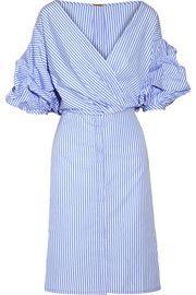Смокинг наматывается эффект полосатый хлопок-поплин рубашка платье