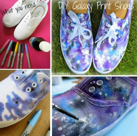 How To Dye White Canvas Shoes Galaxy Sharpies