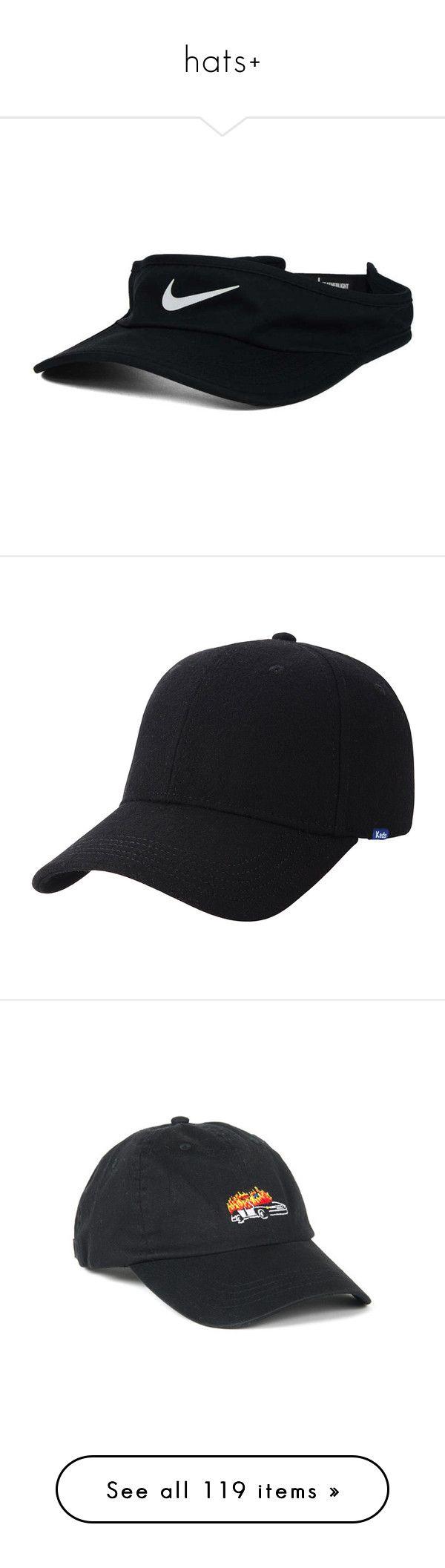 """hats+"" by caylaosuigwe ❤ liked on Polyvore featuring accessories, nike, sun visor, hats, herringbone hat, wool baseball cap, ball cap, adjustable baseball hats, adjustable ball caps and embroidered hats"