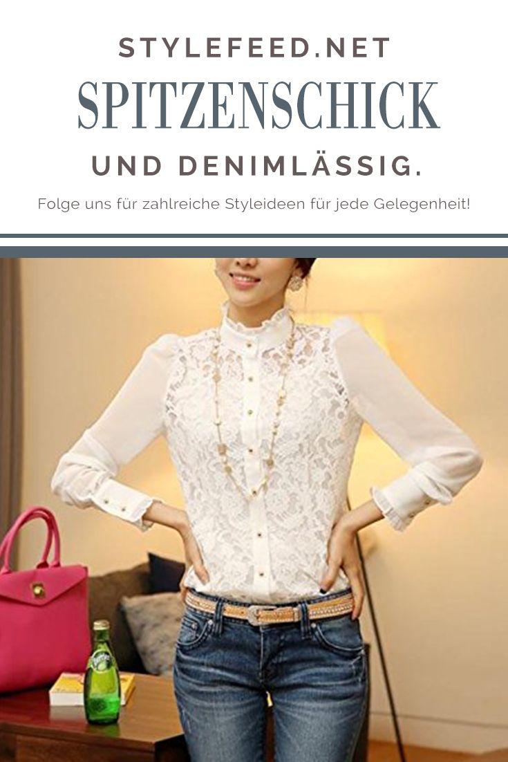Spitzenblusen von Lantomall bekommst du schon für 20€! Die Vintage Blusen sind gerade im Trend und können romantisch mit Röcken oder lässig feminin mit Jeans kombiniert werden. White Lace Vintage Blouse