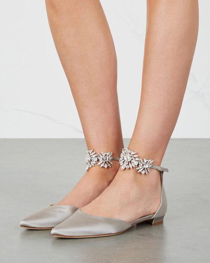 MANOLO BLAHNIK Sicaria crystal-embellished satin flats - Shoes Post