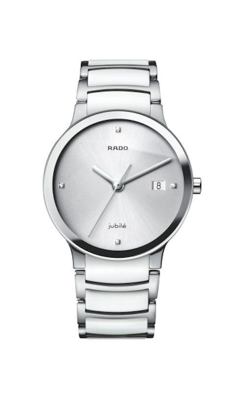 Catálogo de relojes Rado de cerámica: Reloj Rado Centrix para señora en acero y cerámica blanca.