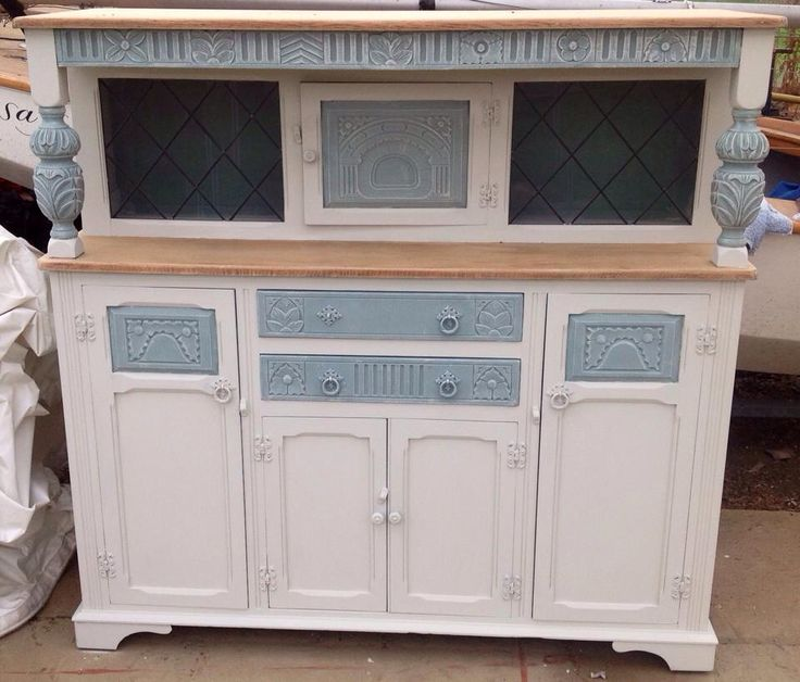 Beautiful dresser painted in in white and duck egg blue. By Vintage Revamp