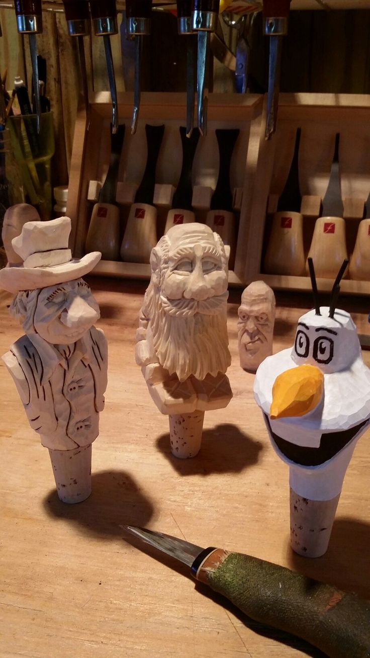Roughing out some toppers, carved by Steve Coughlan