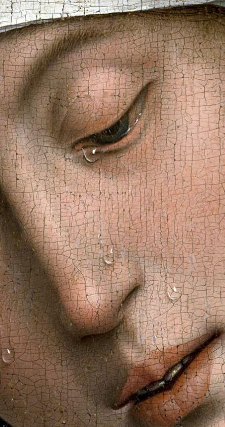 Detail from The Descent from the Cross by Rogier van der Weyden, 1435, Prado, Madrid - Só mãos guiadas por Deus, poderiam fazer um trabalho magnífico como esse; a beleza e a emoção,estão juntas!!!
