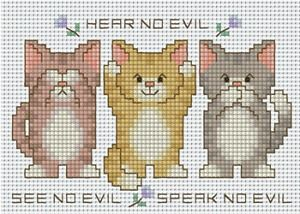 Pinn Stitch Hear No Evil See No Evil Speak No Evil Cat Cross Stitch Kit ★NEW★