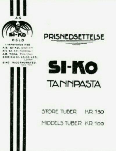 Reklame SI-KO tannpasta 1929