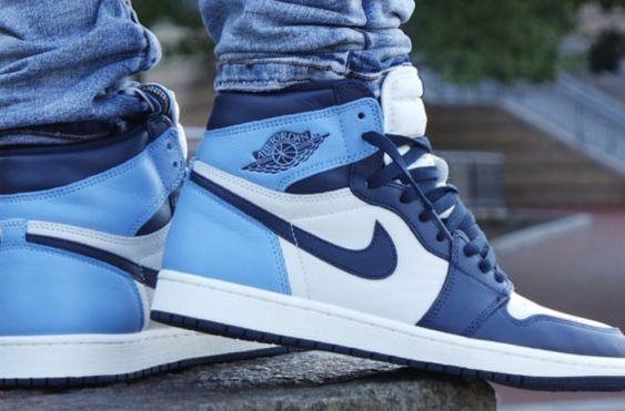 Mens Basketball Shoes Blue Air Jordan 1 Obsidian University Blue ...