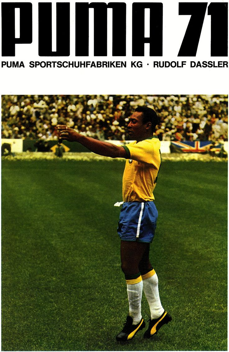 1971 Advertisement poster by Puma featuring Pelé during ...