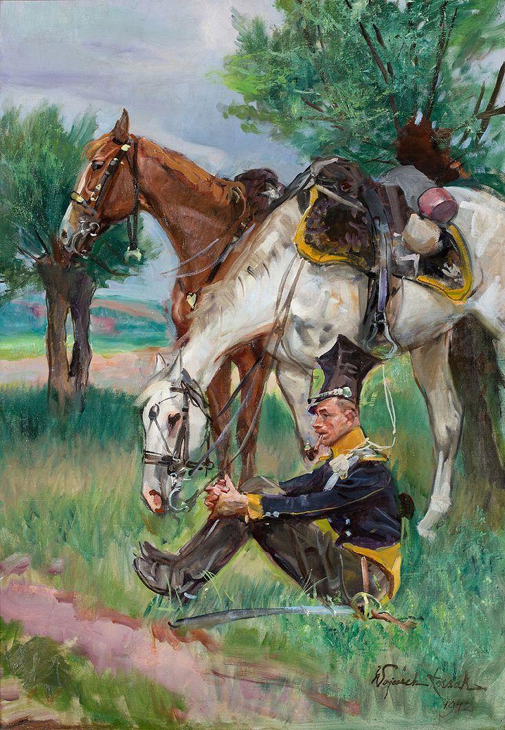 WOJCIECH KOSSAK (1856 - 1942)  ODPOCZYNEK SZWOLEŻERA   olej, płótno / 100 x 69 cm