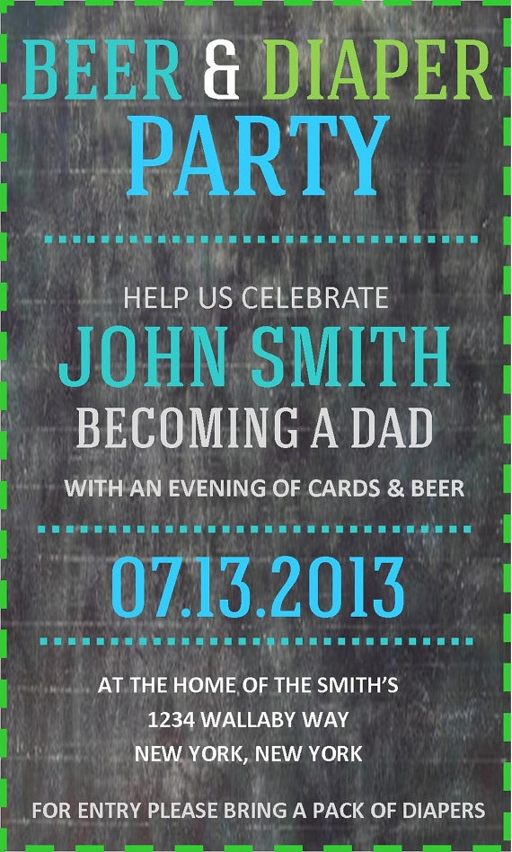 Chalkboard Inspired Diaper Party Invite by AGrainofFabric ...