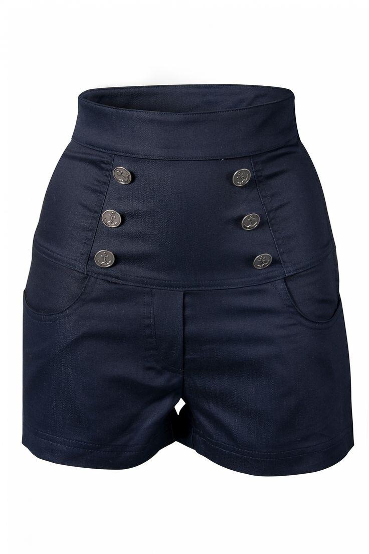 Steady Clothing - 50s Anchor Play Shorts Indigo High Waist denim