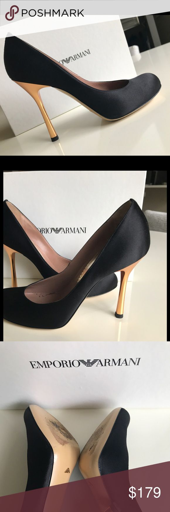 Emporio Armani black satin evening shoes Emporio Armani super chic Stylish black satin evening shoes Contrasting copper tone (rose gold?) stiletto heels (4in) Round toe Very slight sign of wear on the outsoles, otherwise they are in excellent condition Perfect for the holiday season and all special occasion events Comes with the original box  Eur 38 Emporio Armani Shoes Heels