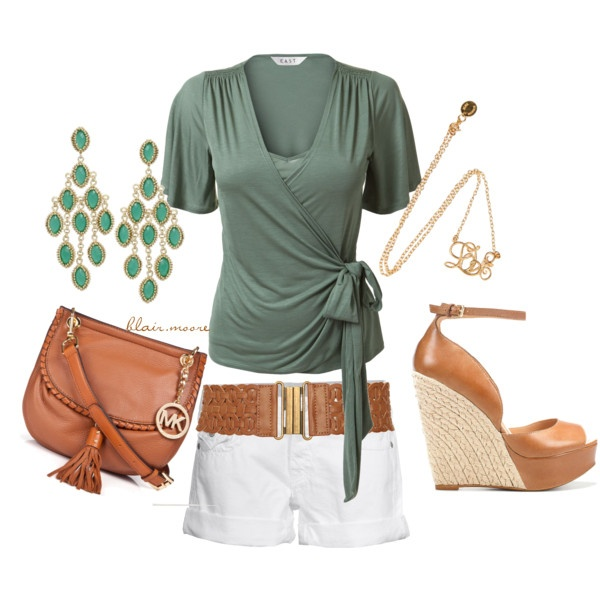 whiskey & green.. Love !: Summer Fashion, White Shorts, Fashion Style, Clothes, Green, Summer Outfits, Closet, Top