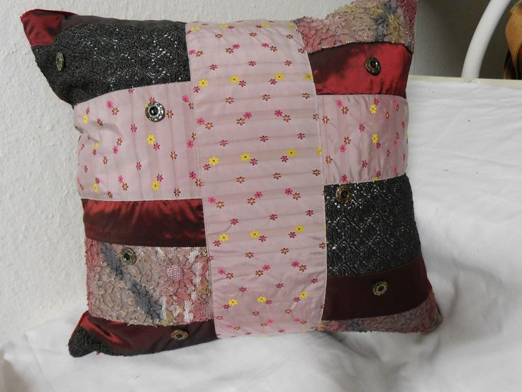 Taft Cushion Patchwork Pillow Geometric Rose Grey Floral