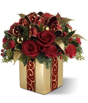 christmas floral arrangements | Holiday Gift Bouquet: Holiday Flowers, Christmas Flower Arrangements ...
