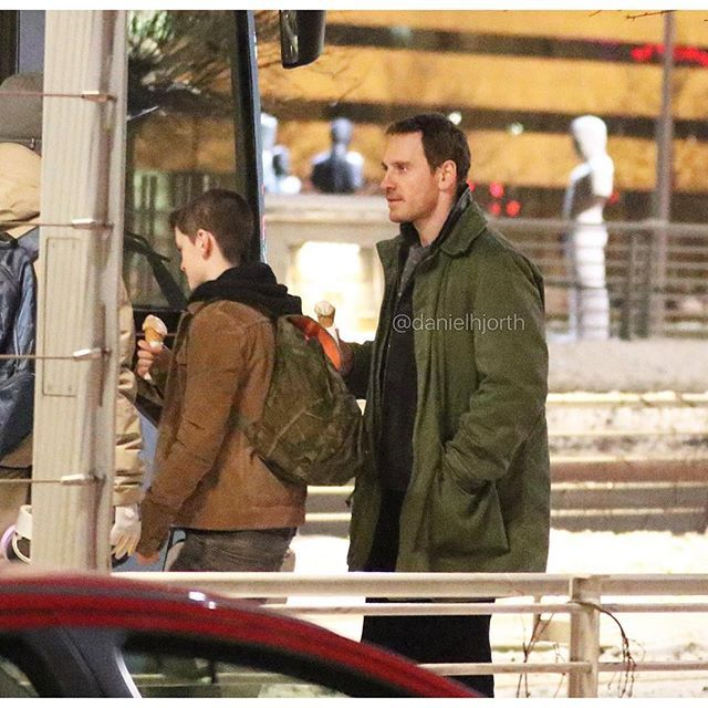 """Michael Fassbender filming """"The Snowman"""" in Oslo today! [star] - (01/21/2016)"""