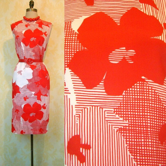 Vintage 60s Floral Graphic Print Dress Red White by labellevintage, $55.00