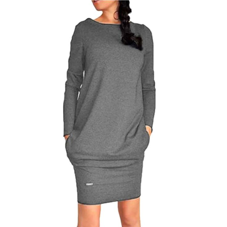 Cheap dress comfort, Buy Quality dress gray directly from China dresses muslim women Suppliers:  Fashion Women Long Sleeve Pullover Jumper Sweatshirt Dress Short Tunic Dress Condition: 100% Brand New &