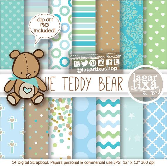 Baby Boy TEDDY BEAR Digital Paper Clipart to create Party Printables Invitation Birthday party baptism baby shower box favors invitations