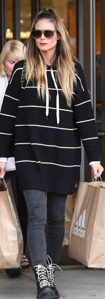 Earn your style stripes in an Alice + Olivia hoodie like Heidi Klum