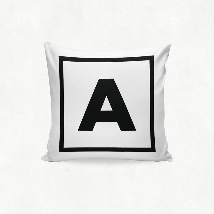 IMIMAH Monotone Monogram Letter 'A' outdoor Cushion - $38 + pp from IMIMAH.co #monotone #monogram #letter #lettercushion #letterpillow #blackandwhite