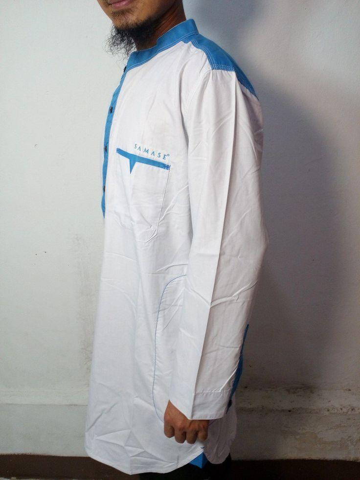 Baju Gamis Pria Samase – Model Baju Gamis Muslim Pakistan Modern – Warna Putih-Biru Muda