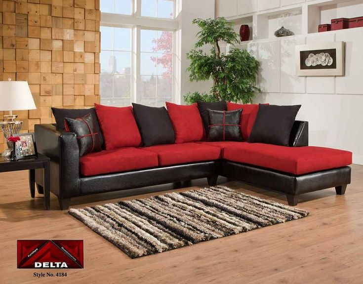 Black U0026 Red Microfiber Cover Sectional With Bicast Black Finished Vinyl On  The Sides. 4184. Living Room ... Part 81
