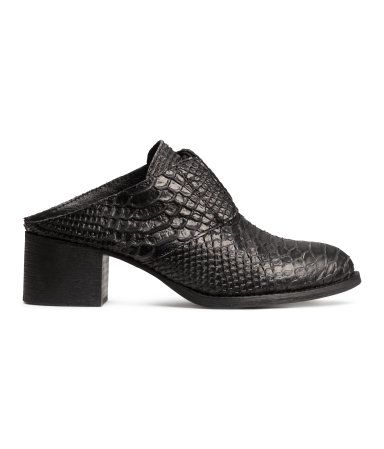 Black Textured Mules Heels H&M Leather Shoes $40