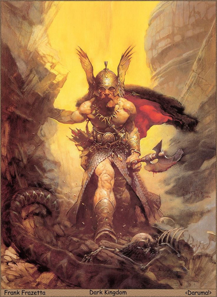 """Dark Kingdom by Frank Frazetta - I know it's a Viking with an """"opera viking"""" helmet on, with wings, but it does look cool and if you ignore the wings he does look very Viking like."""